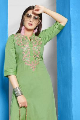 Wholesale Party Event Wear Embroidery Rayon Satin Kurti Collection