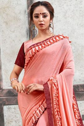 Wholesale Party Wear Impoted Heavy Lycra Frill Saree With Blouse Set