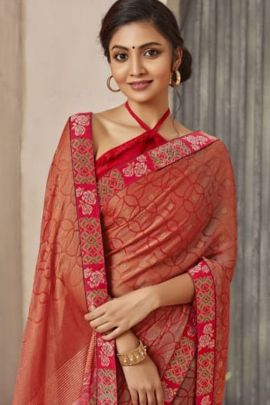 Wholesale Party Wear Printed Brasso Saree With Blouse Set