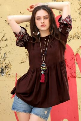 Wholesale Rayon Cotton Embroidered Stylish Western Wear Tops Collection