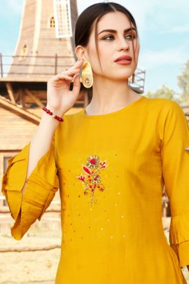 Wholesale Rayon Embroidery Work Event Wear Knee Length Kurti Collection