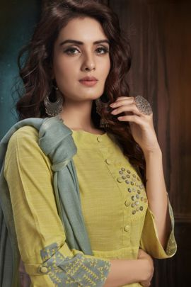 Wholesale Regular Wear Patch Work Cotton Kurti With Dupatta Set