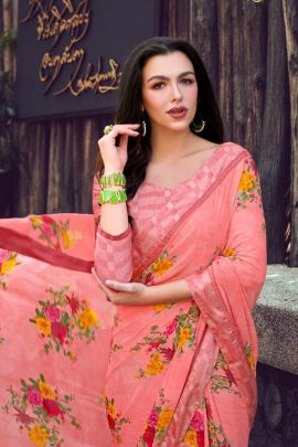 Wholesale Regular Wear Printed Georgette Saree With Blouse Set