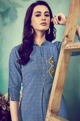 Wholesale Regular Wear Threadwork Viscose Kurti With Plazzo Set