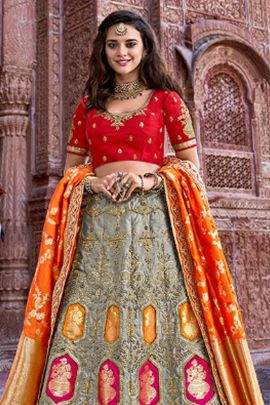 Wholesale Silk Emboridery Work Designer Wedding Wear Lehenga Choli With Dupatta Collection