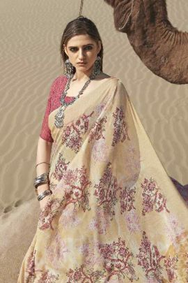 Wholesale Silk Georgette Printed Stylish Event Wear Saree With Blouse Piece Collection