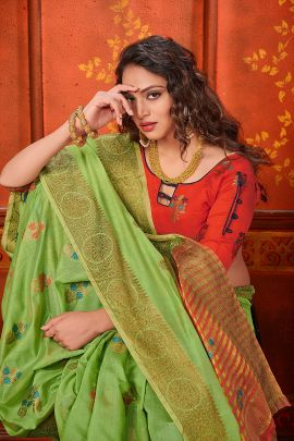 Wholesale Silk Weaved Festive Wear Saree With Blouse Piece Collection
