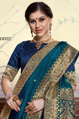 Wholesale Silk Weaved Stylsih Evening Wear Saree With Blouse Piece Collection