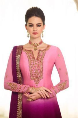 Wholesale Traditional Festive Wear Embroidery Georgette Indo Western Suit