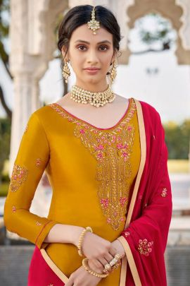 Wholesale Wedding Guest Wear Georgette Embroidered Suit Set