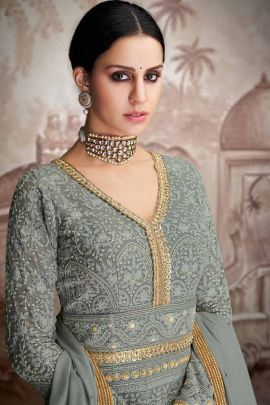 Wholesale Wedding Reception Wear Georgette Embroidered Suit Collection