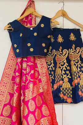 Wholesale Wedding Wear Silk Embroidery Work Kids Lehega Choli With Dupatta Collection