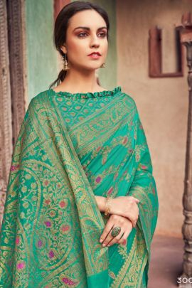 Wholesale Wedding Wear Weaved Heavy Cotton Saree With Blouse Set