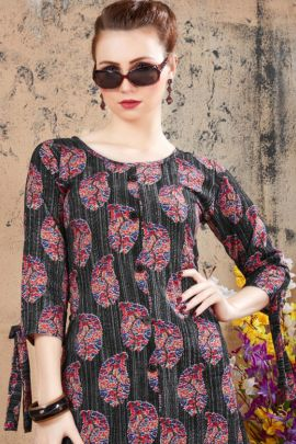 Wholesale Western Wear Rayon Printed Long Sleeves Kurti Collection