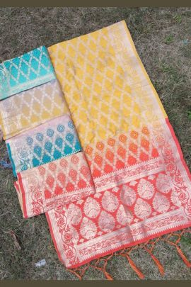 Yellow Banarasi Silk Designer Weaved Zari Dupatta