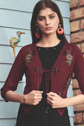A Bunch Of 8 Ocassion Wear Rayon Shrug Kurti Collection By Sweety Fashion
