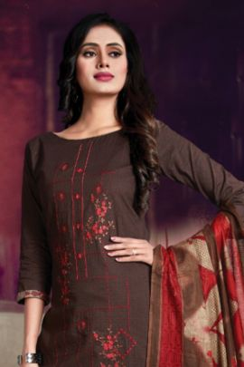 A Bunch Of Cambric Cotton Printed Embroidered Punjabi Style Floreon Trends Dress With Dupatta Collection