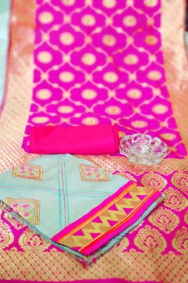 A Bunch Of Chanderi Cotton Stylish Event Wear Dress Material With Dupatta Set