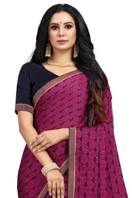 A Bunch Of Chiffon Printed Event Wear Stylish Saree With Blouse Piece Set