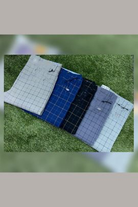 A Bunch Of Cotton Checks Printed Mens Trousers Set