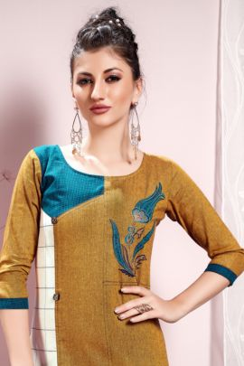 A Bunch Of Cotton Embroidered Evening Wear Knee Length Shubh NX Kurti Collection