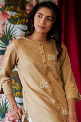 A Bunch Of Cotton Embroidered Knee Length Designer Kurti Colleciton