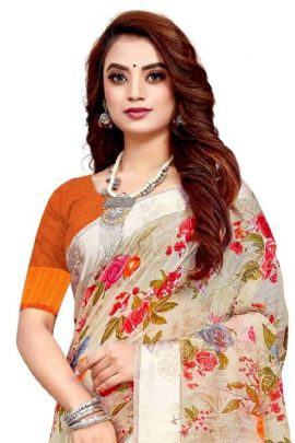 A Bunch Of Cotton Flower Printed Himpriya Fashion Saree With Blouse Piece Set