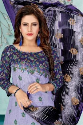 A Bunch Of Cotton Printed Evening Wear Stylish Dress With Dupatta Set