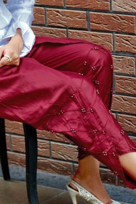 A Bunch Of Cotton Satin Pearl Work Daily Wear Inaya Ladies Pintex Tulip Pants Collection