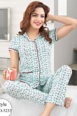 A Bunch Of Cotton Stylish Night Wear Printed Nightsuit Set