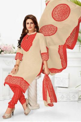 A Bunch Of Cotton Stylish Printed Daily Wear Salwar Suit With Dupatta Set