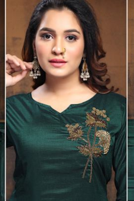 A Bunch Of Fancy Fabric Embroidered Stylish Kurti With Plazzo Set