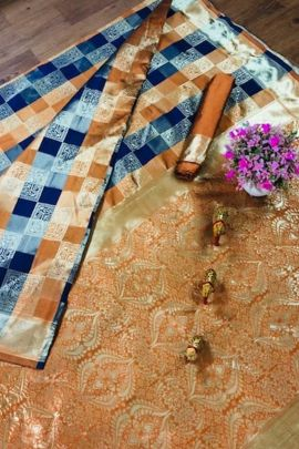 A Bunch Of Jacquard Chex Printed Evening Wear Saree With Blouse Piece Set