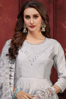 A Bunch Of Muslin Embroidered Party Wear Stylish Gown With Dupatta By Sweety Fashion