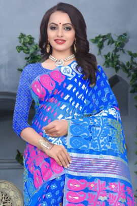 A Bunch Of Poly Cotton Printed Daily Wear Kodas Saree With Blouse Piece Set