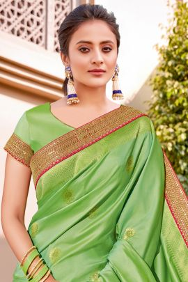 A Bunch Of Raw Silk Printed Event Wear Mahotsav Saree With Blouse Piece Set