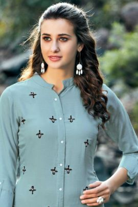 A Bunch Of Rayon Handwork Event Wear Knee Length Sweety Fashion Kurti Collection