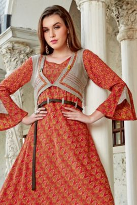 A Bunch Of Rayon Printed Designer Evening Wear Full Length Kurti Set