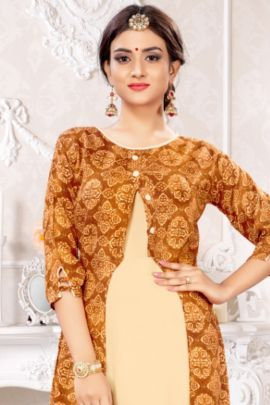 A Bunch Of Rayon Printed Event Wear Long Length Alishka Kurti With Koti Collection