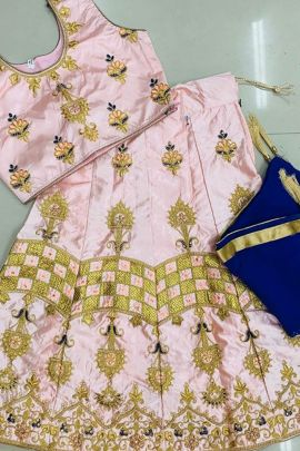 A Bunch Of Satin Embroidered Stylish Event Wear Kids Lehenga With Dupatta