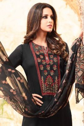 A Bunch Of Satin Georgette Embroidered Knee Length Sarg Dress With Dupatta Set