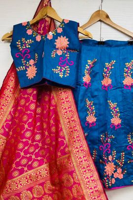 A Bunch Of Silk Embroidery Wedding Wear Ready Made Kids Lehenga Set