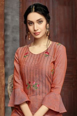 A Bunch Of Viscose Rayon Embroidery Work Evening Wear Kurti Collection