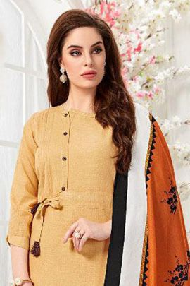 A Pack Of Cotton Printed Event Wear Floor Touch Kurti With Dupatta Bunch