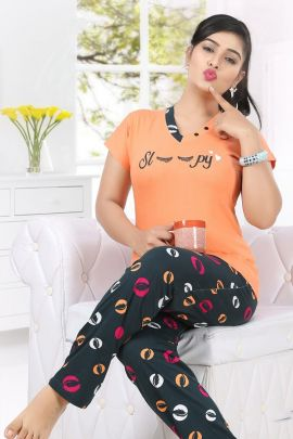 A Pack Of Hosiery Cotton Printed Night Wear Women Night Suit Set