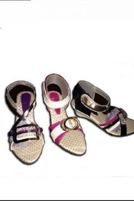 A Pack Of Multi Color PU Ladies Heels Designer Sandals