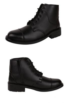 A Set Of Black PVC Mens Leather Lace Up High Top Shoe Bunch
