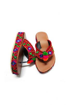 A Set Of Brown Full Worked PU Ladies Jaipuri Slipper Bunch