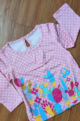 A Set Of Cotton Printed Daily Wear Stylish Kids Girl Wear Infants Tshirts Bunch