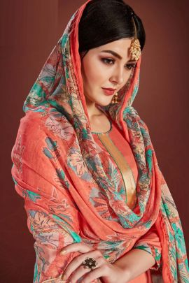 A Set Of Cotton Printed Punjabi Style Patiyala Bandhani Palace Suit With Dupatta Bunch